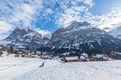 Wetterhorn And Schreckhorn Of Grindelwald In Winter