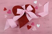 Happy Valentines Day Red Heart Shape Gift Box On Shabby Chic Vintage Style Pink Wood Table Backgroun