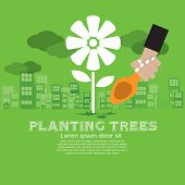 Planting trees Vector Illustration Concept.