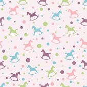 Seamless pattern with rocking horse.