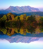 Doi luang chiang dao mountain at chiangmai thailand in mirror  effect