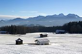 Snowy Landscape In The Bavarian Mountains