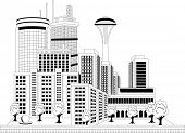 Black and white illustration of a modern city