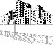 Black and white illustration of a street in a city