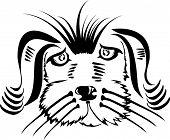 Illustration of a dog head on white background