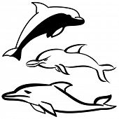 Simple black and white dolphin cartoon icon