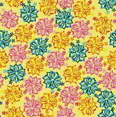 seamless yellow background with bright  flowers
