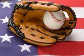 Baseball Glove And Ball On Usa Flag