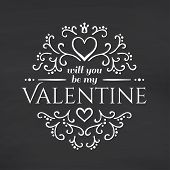 Happy Valentines Day. Blackboard background.