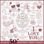 Valentines Day set. Calligraphic design elements.