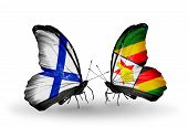 Two Butterflies With Flags On Wings As Symbol Of Relations Finland And  Zimbabwe