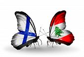 Two Butterflies With Flags On Wings As Symbol Of Relations Finland And Lebanon