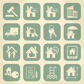 Real estate retro icon set. Vector illustration