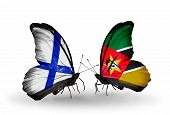 Two Butterflies With Flags On Wings As Symbol Of Relations Finland And Mozambique