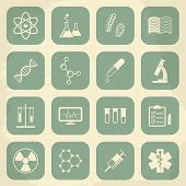 Retro science, medical and education icons. Vector illustration