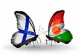 Two Butterflies With Flags On Wings As Symbol Of Relations Finland And Niger