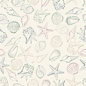 image of oyster shell  - Sea shell seamless pattern - JPG