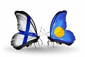 Two Butterflies With Flags On Wings As Symbol Of Relations Finland And  Palau