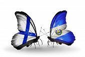 Two Butterflies With Flags On Wings As Symbol Of Relations Finland And Salvador