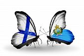 Two Butterflies With Flags On Wings As Symbol Of Relations Finland And San Marino