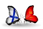 Two Butterflies With Flags On Wings As Symbol Of Relations Finland And Soviet Union