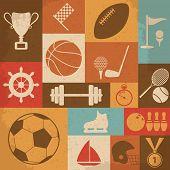 Retro Sports Icons. Vector Illustration