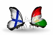 Two Butterflies With Flags On Wings As Symbol Of Relations Finland And Tajikistan