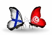Two Butterflies With Flags On Wings As Symbol Of Relations Finland And Tunisia