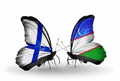 Two Butterflies With Flags On Wings As Symbol Of Relations Finland And Uzbekistan