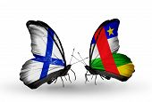 Two Butterflies With Flags On Wings As Symbol Of Relations Finland And Car