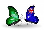 foto of saudi arabia  - Two butterflies with flags on wings as symbol of relations Saudi Arabia and Australia - JPG