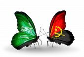 Two Butterflies With Flags On Wings As Symbol Of Relations Saudi Arabia And Angola