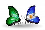 Two Butterflies With Flags On Wings As Symbol Of Relations Saudi Arabia And Argentina
