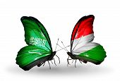 Two Butterflies With Flags On Wings As Symbol Of Relations Saudi Arabia And Hungary