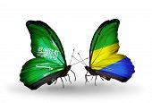 Two Butterflies With Flags On Wings As Symbol Of Relations Saudi Arabia And  Gabon