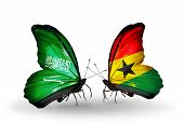 Two Butterflies With Flags On Wings As Symbol Of Relations Saudi Arabia And Ghana