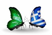 Two Butterflies With Flags On Wings As Symbol Of Relations Saudi Arabia And Greece