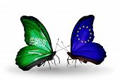 Two Butterflies With Flags On Wings As Symbol Of Relations Saudi Arabia And European Union