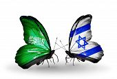 Two Butterflies With Flags On Wings As Symbol Of Relations Saudi Arabia And  Israel