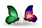 Two Butterflies With Flags On Wings As Symbol Of Relations Saudi Arabia And Cambodia