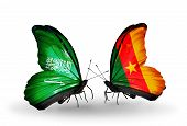 Two Butterflies With Flags On Wings As Symbol Of Relations Saudi Arabia And Cameroon