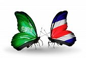 Two Butterflies With Flags On Wings As Symbol Of Relations Saudi Arabia And Costa Rica