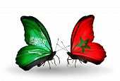 Two Butterflies With Flags On Wings As Symbol Of Relations Saudi Arabia And Morocco