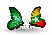 Two Butterflies With Flags On Wings As Symbol Of Relations Saudi Arabia And Myanmar