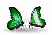 Two Butterflies With Flags On Wings As Symbol Of Relations Saudi Arabia And Nigeria