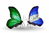 Two Butterflies With Flags On Wings As Symbol Of Relations Saudi Arabia And Nicaragua
