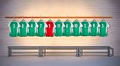 Row of Green and Red Football Shirts 3-5