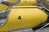 Old yellow pedalos