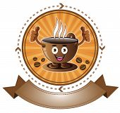 Cartoon smiling coffee cup banner