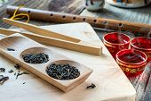 Dry Tea Variation In Wooden Box With Tea Spoon